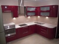Кухня фасады пластик бордовый угол