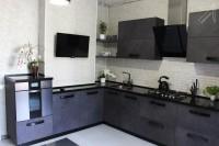 Кухня CLEAF серая угловая
